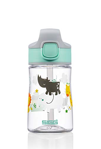 SIGG Miracle Jungle Friend Borraccia bambini (0.35 L), Bottiglia per bambini con coperchio ermetico, Borraccia salvagoccia trasportabile con una mano in tritan