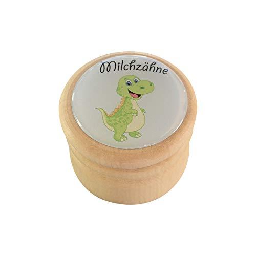 Milchzahndose, Zahndose Milchzähne Bilderdose aus Holz in diversen Motiven für Jungen und Mädchen mit Drehverschluss 44 mm (Dino)