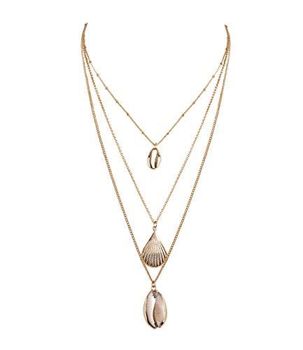 SIX Halskette: Layering Look mit verschiedenen Muscheln Frauen & Mädchen - Hochwertige Kette mit Anhänger » maritim & stylisch « - Schmuck goldfarben (779-589)