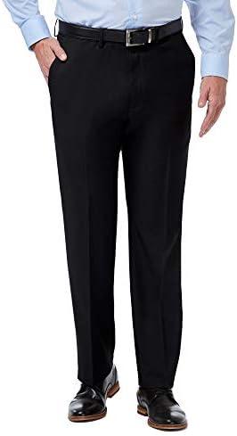 Haggar Men s Premium Comfort Classic Fit Flat Front Expandable Waist Pant Black 42Wx32L product image