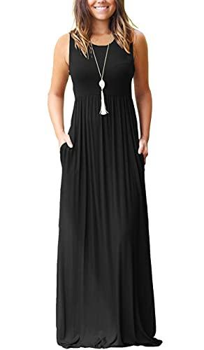 MOLERANI Women Sleeveless Loose Plain Casual Long Maxi Dresses with Pockets Black XL
