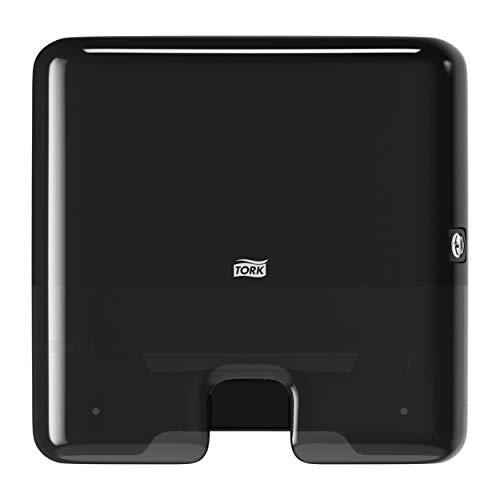 Tork 552108 Dispensador de toallas de mano entreplegadas / despachador de papel secamanos de Tork compatible con el sistema H2, 29,5x30,2x10,1, negro