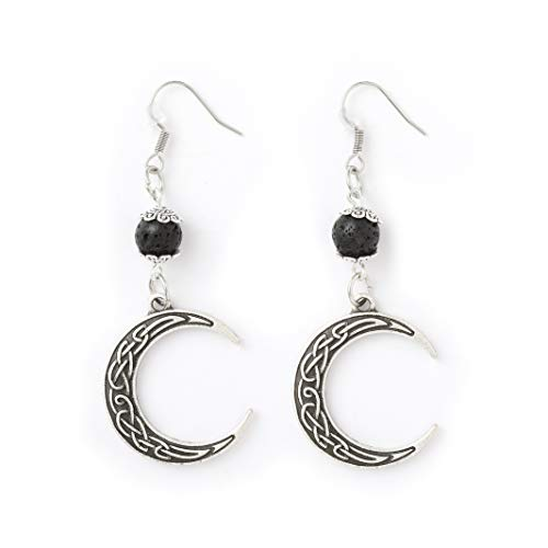 HAQUIL Celtic Jewelry Metal Alloy Celtic Crescent Moon with Lava Stone Drop Dangle Earrings
