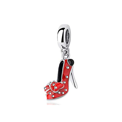 LFDHG 925 Cuentas de Plata esterlina Charm Fit Pulseras Original Arco Rojo Zapato Colgante encantos Regalo DIY Mujeres joyería Haciendo