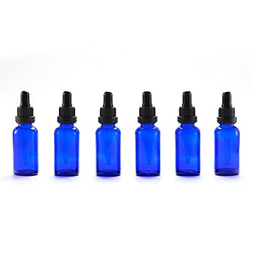 Yizhao Azul Frasco Cuentagotas Cristal 30ml, Botellas Cuentagotas con [Pipeta Cuentagotas Cristal], para Aceite Esencial, Masaje,Fragancia, Aromaterapia, Laboratorio - 6Pcs