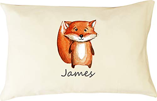 DorDor & GorGor Personalized Toddler Pillow with Watercolor Pillowcase, Ultra Soft Organic Cotton, Giftable Box, 13 X 18 inches, Baby Foxx