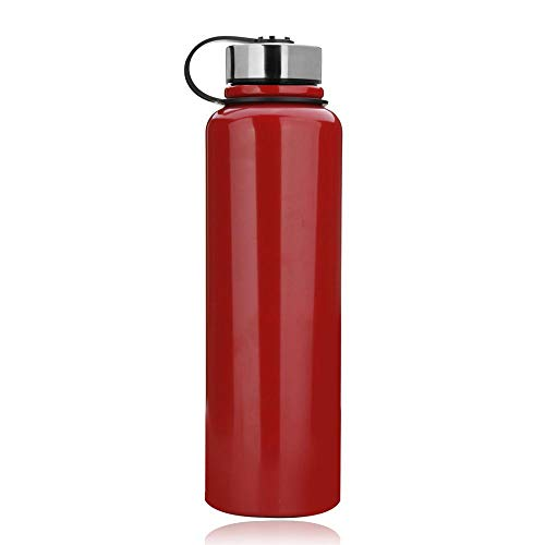 1.5 Liter Edelstahl Thermo Trinkflasche, Vakuum Isolierte Edelstahl Thermosflasche Auslaufsicher Wasserflasche Sportflasche, Doppelwandige Isolierflasche für Für den Sport (Rot,1.5 L ( 13x3.5 Zoll ))