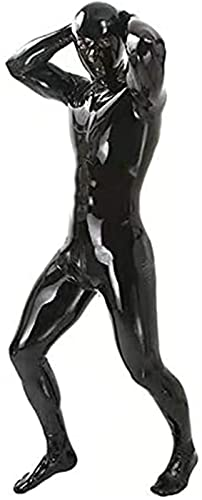 FASZFSAF Traje De Lencería De Cuero De La Laca Sexy De Los Hombres PVC Látex Catsuit Vestido Cremallera De Mono Vestido De Clubwear,Negro,XL