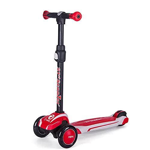 XCVMKH Scooter para niños con un solo clic, plegable, en altura, ajustable, cinturón de ensanchamiento y engrosamiento, ruedas de poliuretano que absorben los golpes, adecuado para niños y niñas mayor