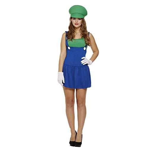 Vrouwen Dames Super Mario Loodgieter Bros Video Game Werk Vrouw Kostuum Fancy Jurk