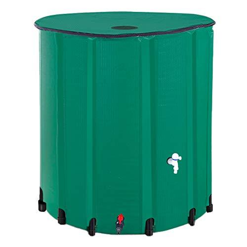 HOSANA Rain Barrel 198 Gallon Water Collector Storage Collapsible Tank Storage Container with Spigot Filter(750L,Dark Green)