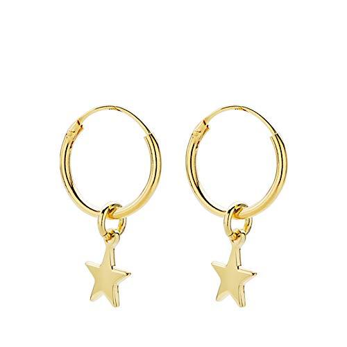 Iyé Biyé Jewels - Pendientes aros lisos 12 mm estrella 5 mm mujer niña plata de ley 925 bañado oro amarillo.