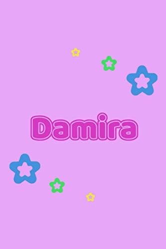 Damira: Personalisiertes Vornamen Tagebuch für Frauen und Mädchen - Notizbuch, Notizheft oder Schreibheft für Schule, Uni, Beruf, Job oder Einschulung ... - Punkteraster - Format 6x9 ca. DIN A365