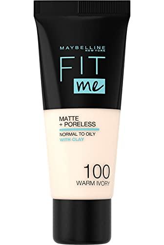 Maybelline New York Fondotinta Fit Me Matte&Poreless, Finish Opacizzante e Fissante, Tonalità 100 Warm Ivory