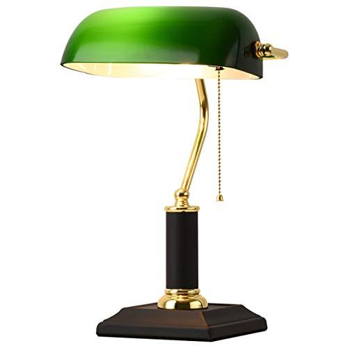 Antik Bankerlampe grün Klassische Messing Bankers Schreibtischlampe Glass Tischlampe Green Bürolampe mit Zugschalter E27 Innen Nachttischlampe Traditionelle Retro Leselampe H:38cm (Metall Basis)