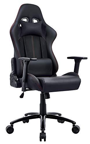 Amoiu Gamingstuhl, Racing Stuhl Sportsitz Schreibtischstuhl, Bürostuhl mit 3D verstellbaren Armlehnen, Hoch Rücken Ergonomische Drehstuhl mit Kopfkissen und Taillenstütze (Schwarz)