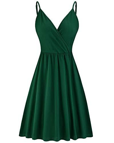 VOTEPRETTY Women's V-Neck Spaghetti Strap Dress Summer Casual Swing Sundress with Pockets(Green,L)