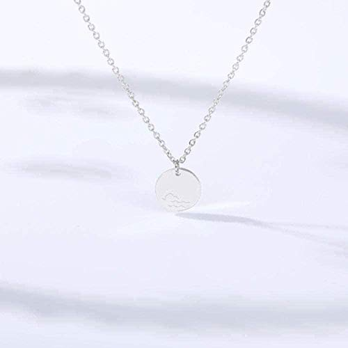 AKDLKXTS Necklace Dolphin Wave Pattern Round Necklaces Pendants for Women Men Rose Male Female Pendant Necklace Jewelry