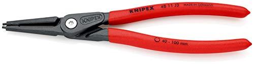 KNIPEX Präzisions-Sicherungsringzange für Innenringe in Bohrungen (225 mm) 48 11 J3, Rot