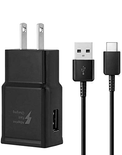 Adaptive Fast Wall Charger Adapter with USB Type C Cable (5 ft) Compatible with Samsung Galaxy S10 S10e / S9 / S9+ / S8 / S8 Plus/Active/Note 9 / Note 8 and More