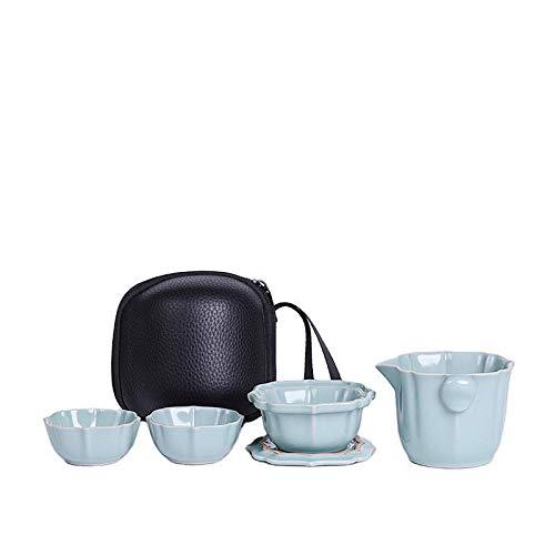 Una olla de dos vasos de dos personas juego de té de viaje bolsas portátiles para viajes al aire libre Kung Fu tazas de té