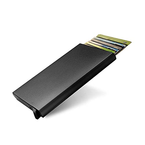 Portatarjetas emergente Ligero para Hombre, Delgado, de aleación de Aluminio, con Bloqueo RFID, Protector de Tarjetas de crédito sin Contacto, portatarjetas de Visita (Negro)