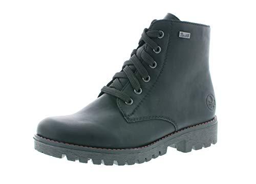 Rieker Damen Stiefel, Frauen Schnürstiefel,riekerTEX, Boots Combat schnürung gefüttert weiblich Lady Ladies feminin,schwarz,36 EU / 3.5 UK