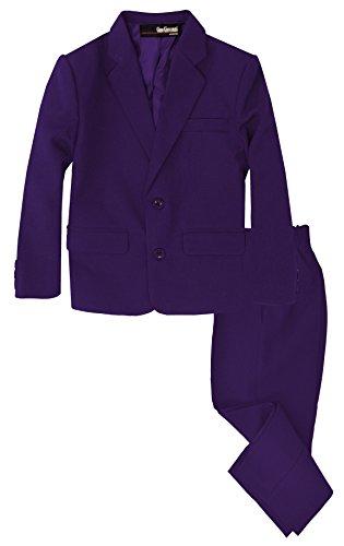 G218 Boys 2 Piece Suit Set Toddler to Teen (6, Purple)