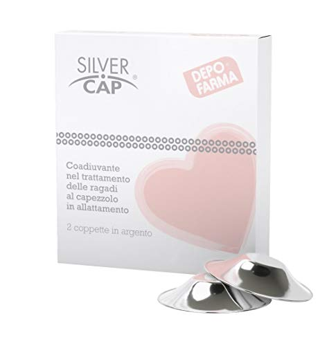 Silver Cap Coppette Paracapezzoli In Trilaminato, per la Prevenzione e Cura Delle Ragadi al Seno Durante L'Allattamento, Argento