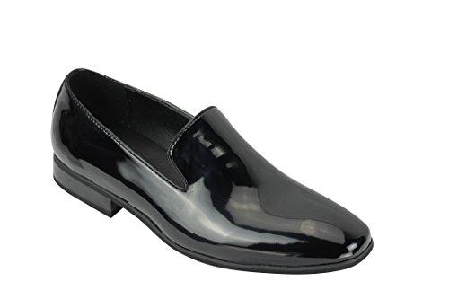 Xposed, Herren-Wildleder-Slipper, mit glänzendem patentierten Lederfutter, Halbschuh, sportlich-elegant, Größe 40 bis 45,5, Schwarz - schwarzer lack - Größe: 42 EU