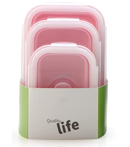 reshare - Set of 3 Foldable Silicone Food Containers - Microwave Fridge - Pink