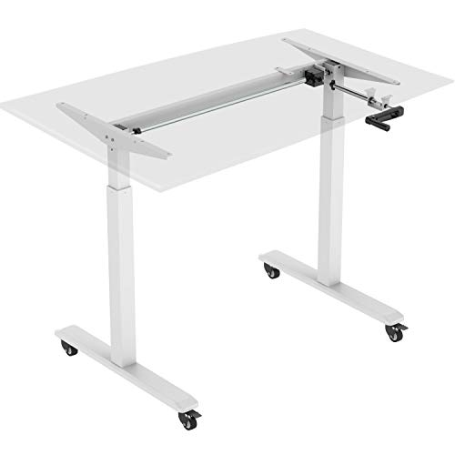 HOKO® Ergo-Work-Table Höhenverstellbarer Schreibtisch, Tischfüße Basic Grau, manuell verstellbar, für Tischplatten ab 2,5cm. Inkl. Rollen und Standfüße. Ergonomisches Arbeiten im Sitzen und im Stehen!