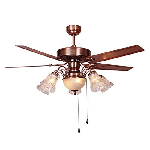 Ventilador de techo con luz de techo de hoja de hierro ligero Luz con 5 lámparas de cristal Control de alambre de cable de alambre de energía eólica Sala de estar Ventilador Araña, 48 'Fan de techo pa