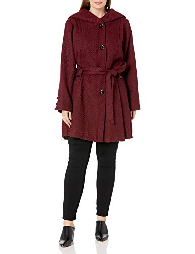Steve Madden Women's Plus-Size Single Breasted Wool Coat, Merlot, 2X