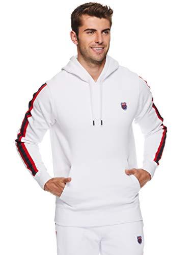 K-Swiss Men's Fleece Pullover Hoodie Sweater - Graphic Hooded Activewear Sweatshirt - The Tape Stark White, Medium