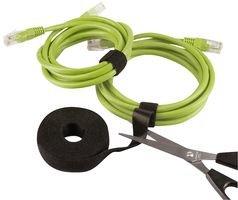 Label-the-cable Klettbandrolle doppelseitig (Haken & Flausch), Klettkabelbinder zuschneidbar, Velours-Qualität, geeignet als Kabelbinder, Klettband/ LTC ROLL STRAP, 3 m x 16 mm, Schwarz, LTC 1210