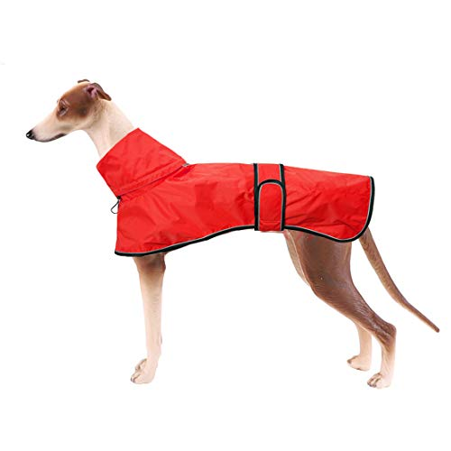 Hundejacke/Regenjacke, verstellbar, leicht, mit reflektierenden Riemen und Geschirr-Öffnung, für Greyhounds, Lurcher und Whippets, Gelb – Größe S