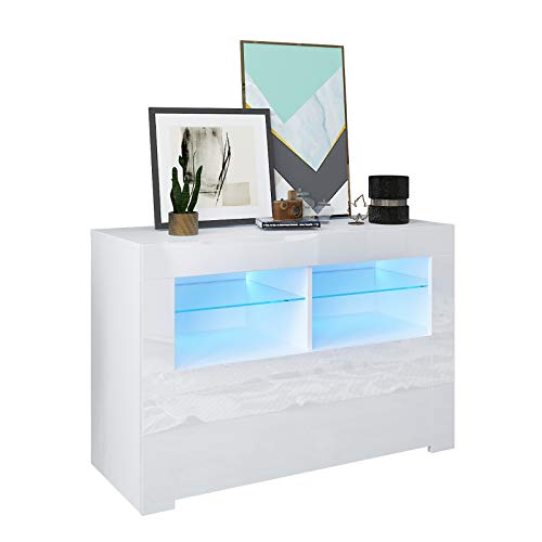 GConline 90CM LED TV Stand Cabinet Unit, Modern White Sideboard Cabinet With Storage For Living Room Home Furniture Width Matt Body High Gloss Door