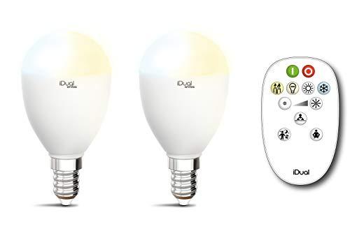2er Pack LED Kerze Leuchtmittel iDual Whites E14 + Fernbedienung