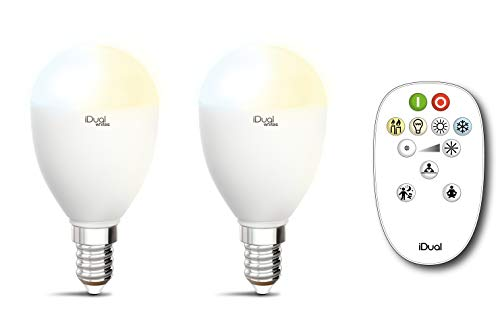 Set van 2 LED-kaarsen lampen iDual Whites E14 + afstandsbediening