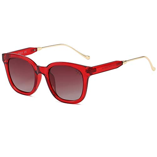 SOJOS Gafas De Sol Unisex Hombre Mujer Clásico Cuadrado Polarizado SJ2050 (C8 Marco Transparente Rojo/Lente Gradiente Vino Polarizado, 52)