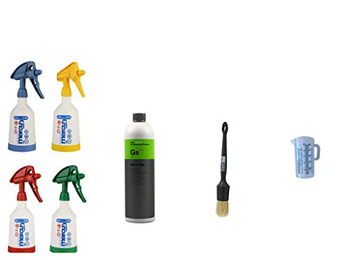 4 Kwazar Mercury Super PRO+ 360 Grad VITON Sprühflasche 0,5 Liter + 1 Liter KOCH Chemie Green Star Universalreiniger + ValetPRO Large Sash Brush No. 16 black + Detailmate 50ml Messbecher