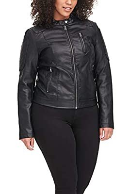 Levi's Size Women's Plus Faux Leather Fashion Quilted Racer Jacket, black, 3X