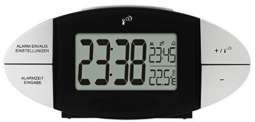 Krippl-Watches Digitaler Funkwecker, Farbe:Silber-schwarz