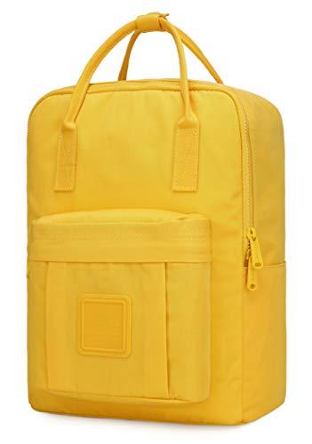 BESTIE Medium Backpack for Women & Teen Girls, Monochrome Bookbag Cute for School, College and Travel, Plain, Warm Yellow
