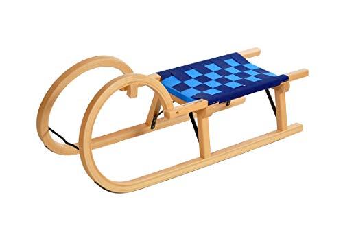 Colint Hörnerschlitten mit Gurt Schlitten, Holz/Blau, 100 cm/traditionell mit Metallstrebe