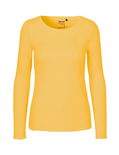 Green Cat- Damen Langarmshirt, 100% Bio-Baumwolle. Fairtrade, Oeko-Tex und Ecolabel Zertifiziert, Textilfarbe: gelb, Gr. L