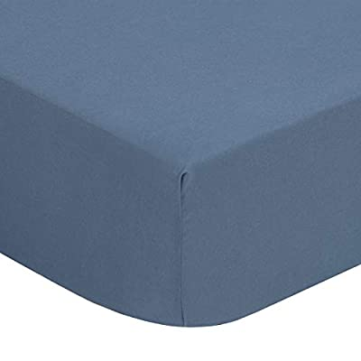 TILLYOU Silky Soft Microfiber Crib Sheet, Breathable Cozy Toddler Sheets for Boys, 28 x 52in Fits Standard Crib & Toddler Mattress, Gray Blue