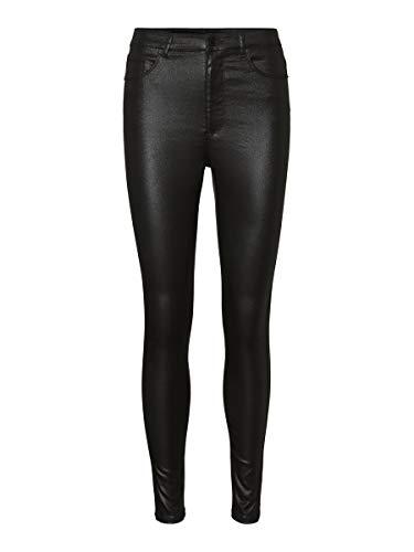 Vero Moda VMLOA HR Skinny S Coated Pant GA Noos Pantalones, Black, Mujer