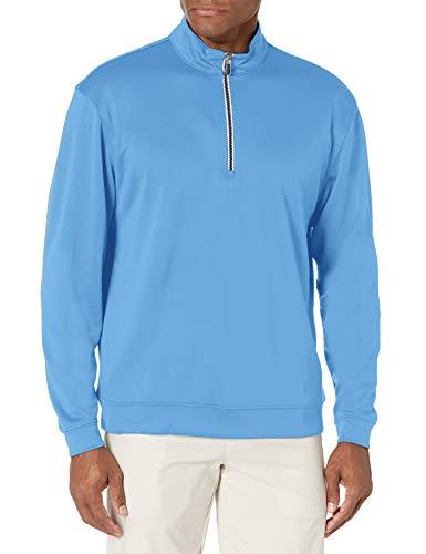 Men#039s Pebble Beach Golf Long Sleeve 1/4 Zip Pullover with Contrast Trim Regatta Blue Large